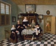 Family Group in an Interior painting reproduction, Quirijn Van Brekelenkam