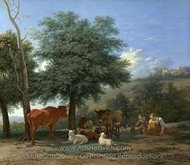 Farm Animals with a Boy and Herdswoman painting reproduction, Karel Dujardin