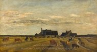 Farm at Kerity, Brittany painting reproduction, Charles Daubigny