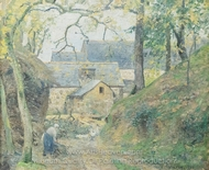 Farm at Montfoucault painting reproduction, Camille Pissarro