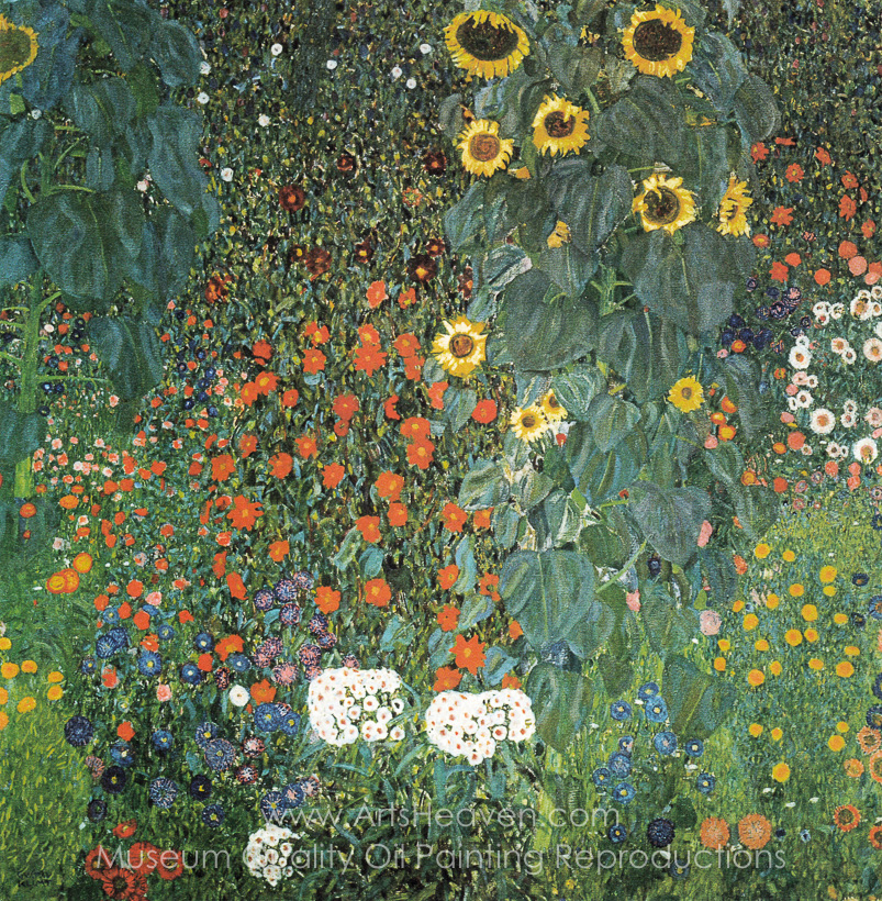 Gustav Klimt Farm Garden With Sunflowers Oil Painting Reproduction