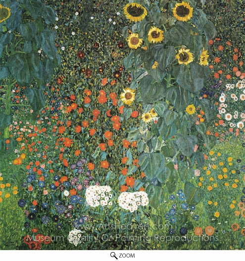 Gustav Klimt, Farm Garden with Sunflowers oil painting reproduction