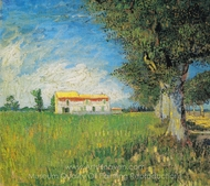 Farmhouse in a Wheatfield painting reproduction, Vincent Van Gogh