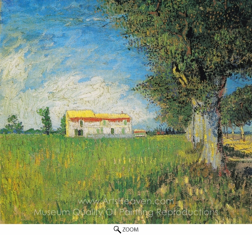 Vincent Van Gogh, Farmhouse in a Wheatfield oil painting reproduction