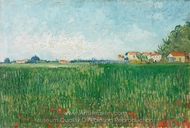 Farmhouses in a Wheat Field Near Arles painting reproduction, Vincent Van Gogh