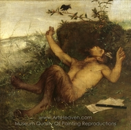 Faun Whistling to a Blackbird painting reproduction, Arnold Bocklin