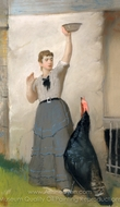 Feeding the Turkey painting reproduction, Eastman Johnson