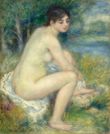 Female Nude in a Landscape painting reproduction, Pierre-Auguste Renoir