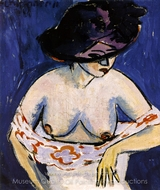 Female Nude with Hat painting reproduction, Ernst Ludwig Kirchner