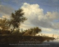 Ferry Near Gorinchem painting reproduction, Salomon Van Ruysdael