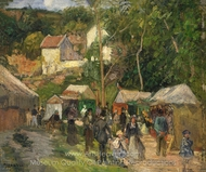 Festival at L'Hermitage painting reproduction, Camille Pissarro