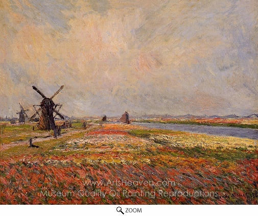 Claude Monet, Field of Flowers and Windmills Near Leiden oil painting reproduction