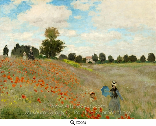 Claude Monet, Field of Poppies, Argenteuil oil painting reproduction