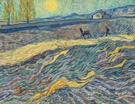 Field with Plowing Farmers painting reproduction, Vincent Van Gogh