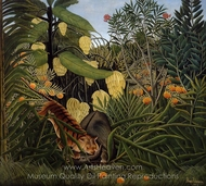 Fight between a Tiger and a Buffalo painting reproduction, Henri Rousseau
