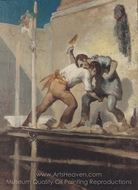 Fighting Bricklayers painting reproduction, Honore Daumier