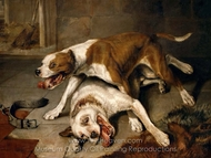 Fighting Dogs painting reproduction, Sir Edwin Landseer