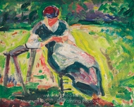 Figure in Landscape painting reproduction, Alfred Henry Maurer