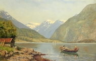 Figures in a Rowing Boat on a Fjord painting reproduction, Hans Dahl