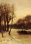 Figures in a Winter Landscape at Dusk painting reproduction, Louis Apol