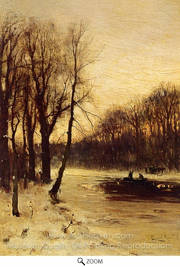 Louis Apol, Figures in a Winter Landscape at Dusk oil painting reproduction