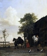 Figures with Horses by a Stable painting reproduction, Paulus Potter