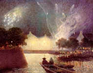 Fireworks over the Port painting reproduction, Ferdinand Du Puigaudeau