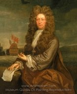 Fisher Harding, Master Shipwright Active, with the Launch of the Royal Sovereign 1701 painting reproduction, Jonathan Richardson