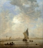 Fishermen Hauling a Net painting reproduction, Jan Van Goyen
