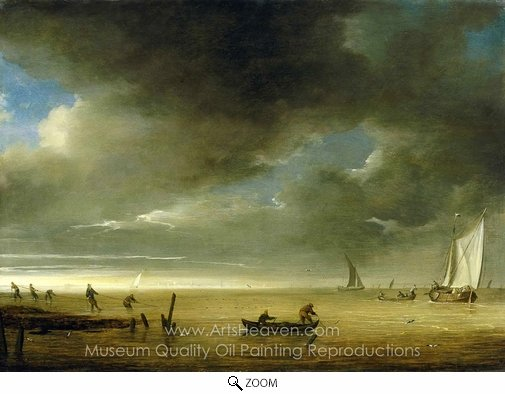 Jan Porcellis, Fishermen on Shore hauling in their Nets oil painting reproduction