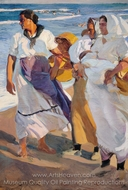 Fisherwomen from Valencia painting reproduction, Joaquin Sorolla