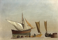 Fishing Boats painting reproduction, Albert Bierstadt