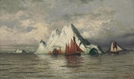 Fishing Boats and Icebergs painting reproduction, William Bradford