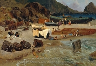 Fishing Boats at Capri painting reproduction, Albert Bierstadt