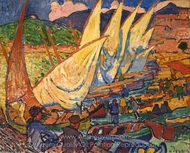 Fishing Boats, Collioure painting reproduction, Andre Derain