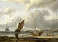 Fishing Boats in a Storm off the Dutch Coast at Den Helder painting reproduction, Abraham Storck