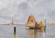 Fishing Boats in the Lagoon of Venice painting reproduction, Carlo Brancaccio