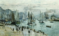 Fishing Boats Leaving the Port of Le Havre painting reproduction, Claude Monet
