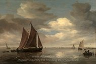 Fishing Boats on a River painting reproduction, Salomon Van Ruysdael