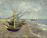 Fishing Boats on the Beach painting reproduction, Vincent Van Gogh