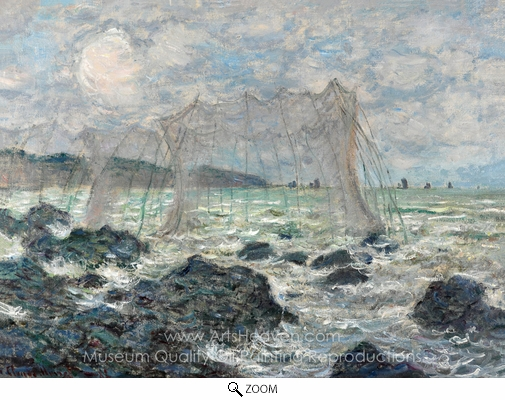 Claude Monet, Fishing Nets at Pourville oil painting reproduction