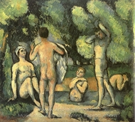 Five Bathers painting reproduction, Paul Cézanne