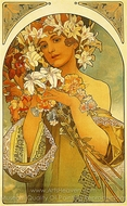 Flower painting reproduction, Alfonse Mucha