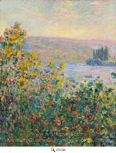 Claude Monet, Flower Beds at Vetheuil oil painting reproduction