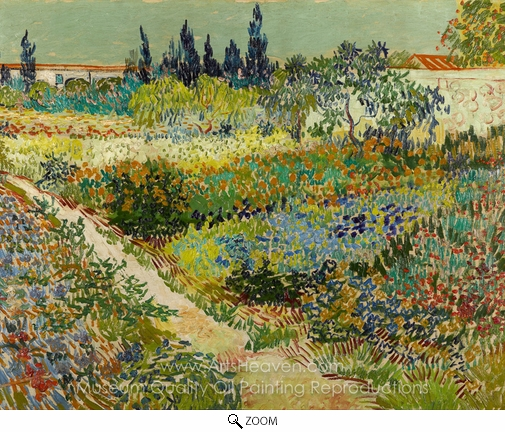 Vincent Van Gogh, Flowering Garden with Path oil painting reproduction
