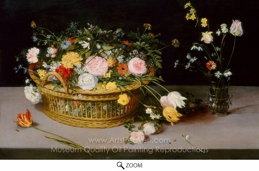 Jan Brueghel, Flowers in a Basket and a Vase oil painting reproduction