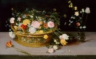 Flowers in a Basket and a Vase painting reproduction, Jan Brueghel