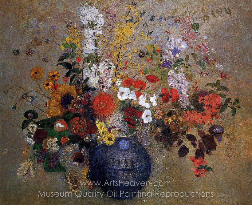 Reproduction Painting Odilon Redon Flowers In A Blue Vase Hand