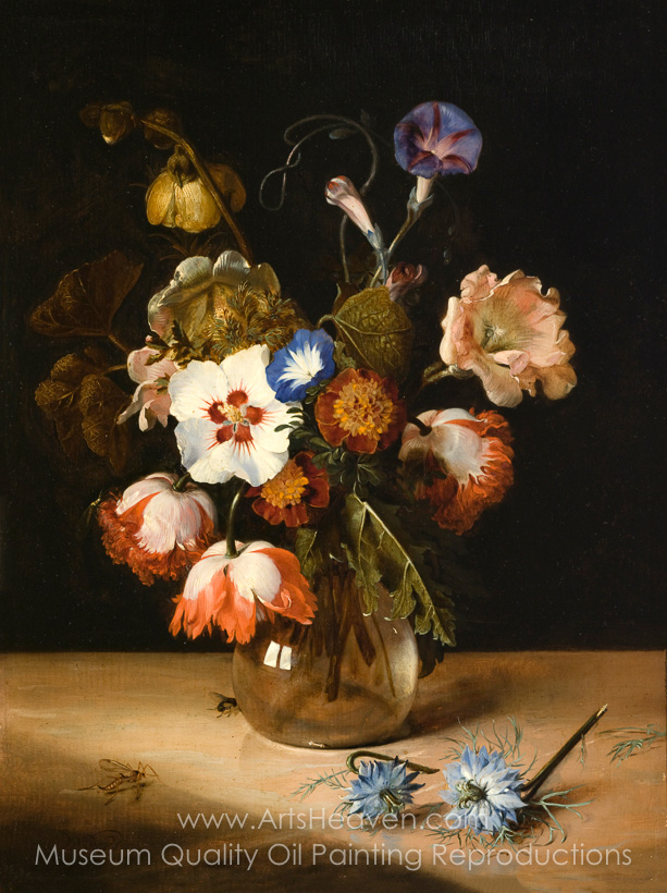 Reproduction Painting Dirck De Bray Flowers In A Glass Vase Hand