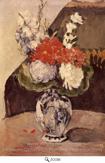Paul Cézanne, Flowers in a Small Deflt Vase oil painting reproduction